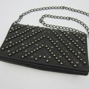 Aldo Studded Black Chain Crossbody Clutch *M18